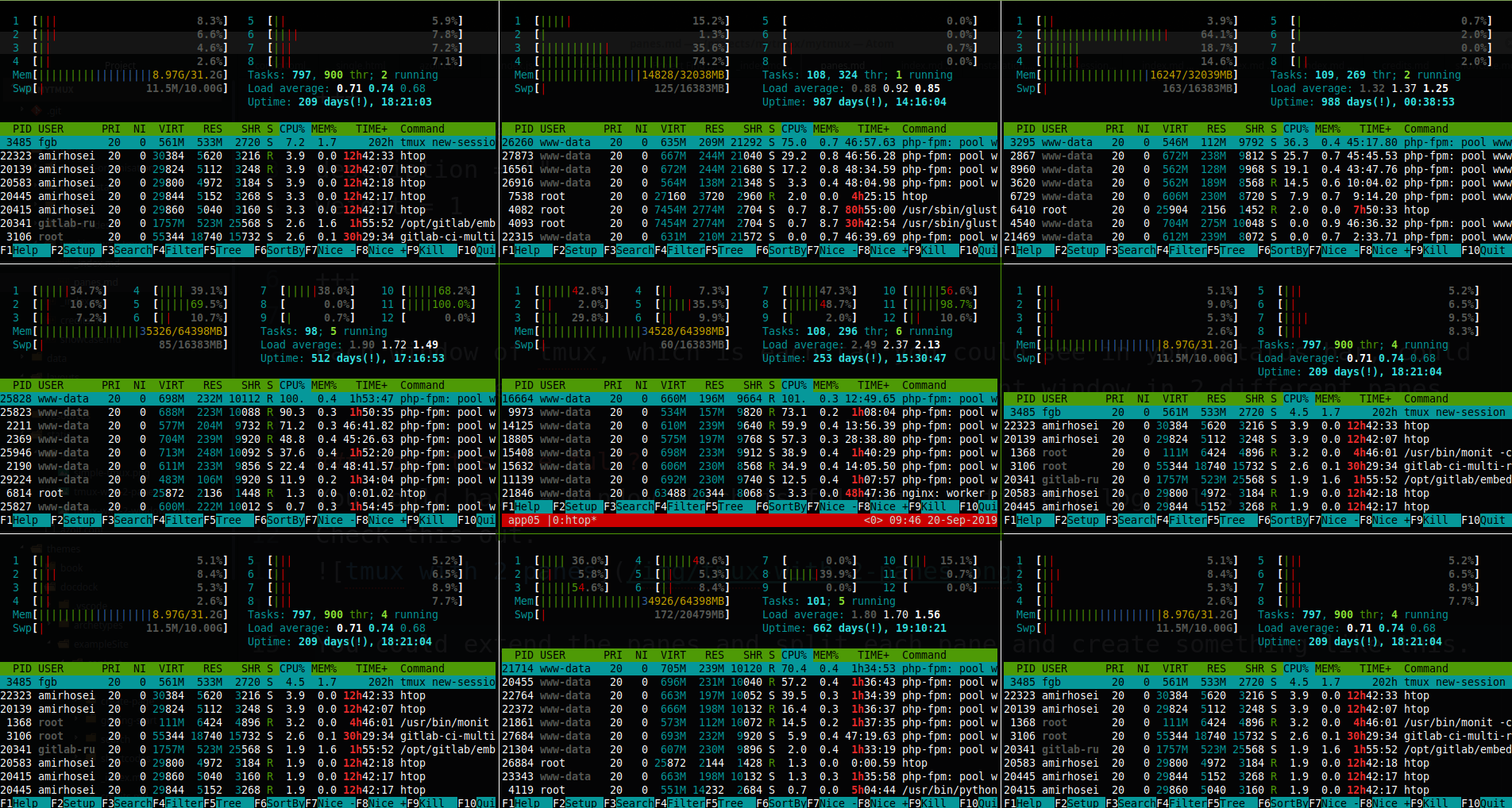 tmux with multiple panes